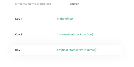 KeyNest online dashboard showing the location of an estate agent's keys